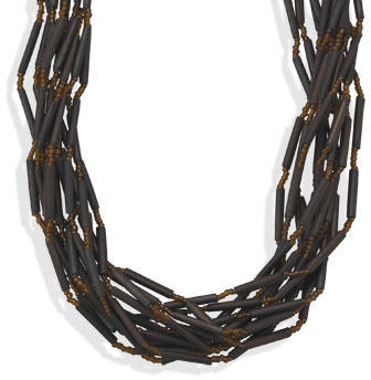 "17""+3"" Multistrand Bamboo Bead Fashion Necklace"