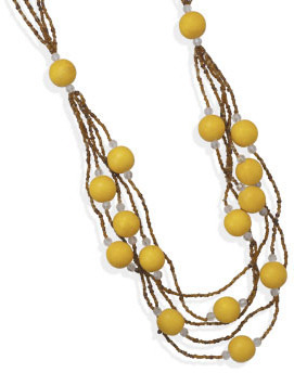 "32""+2"" Multistrand Wood and Glass Bead Fashion Necklace"