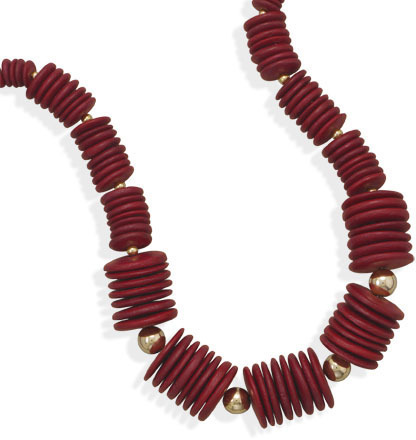 "18"" Red Wood Bead Fashion Necklace"