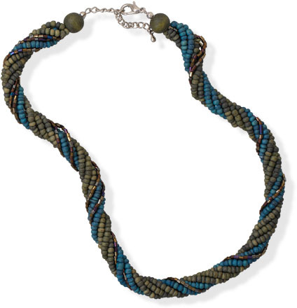 "18""+2"" Multistrand Green Coco and Glass Bead Fashion Necklace - DISCONTINUED"