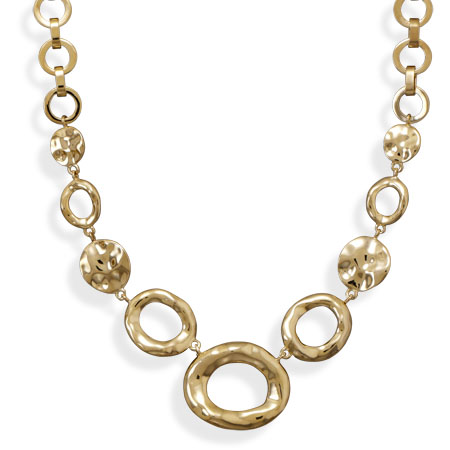 "18""+2"" 14 Karat Gold Plated Open Link Fashion Necklace - DISCONTINUED"