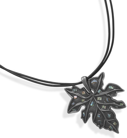 "16""+3"" Double Strand Leather Necklace with Leaf Fashion Pendant"