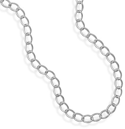 "28"" Oval Link Silver Tone Fashion Chain"