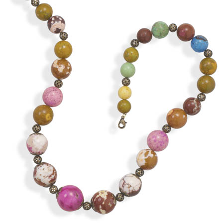 "21""+3"" Graduated Multicolor Agate and Brass Fashion Necklace - DISCONTINUED"