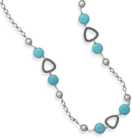 "32"" Gunmetal Plated Fashion Necklace with Magnesite Beads - DISCONTINUED"