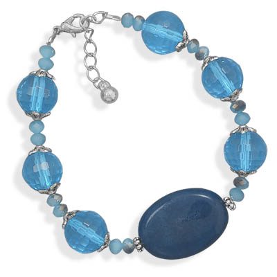 "7""+1"" Teal Agate and Blue Glass Fashion Bracelet- DISCONTINUED"