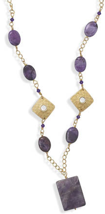 "24""+2"" Gold Plated Amethyst and Purple Agate Fashion Necklace"