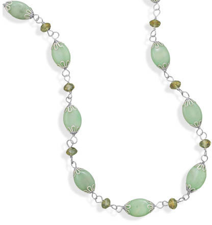 "17""+2"" Green Magnesite and Glass Bead Fashion Necklace"