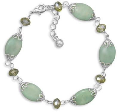 "7.5""+1"" Green Magnesite and Glass Bead Fashion Bracelet"
