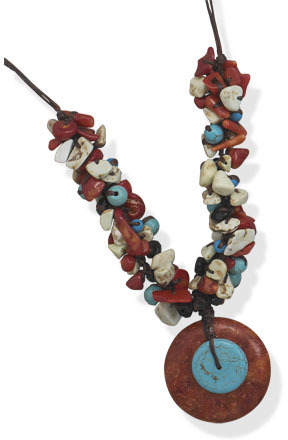 "18"" Multibead Cord Fashion Necklace"