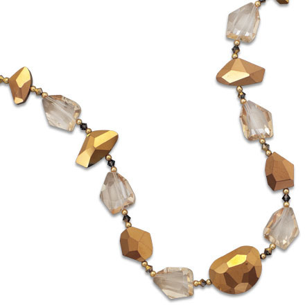 "16""+2"" Gold Plated Glass Nugget Fashion Necklace"