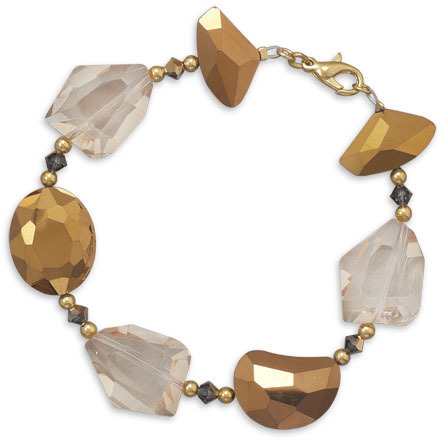 "8"" Gold Plated Glass Nugget Fashion Bracelet"
