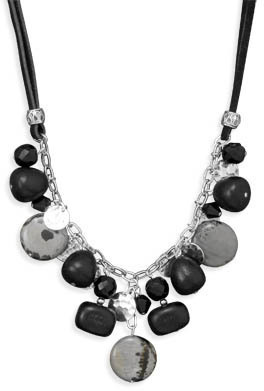 "18""+2"" Multibead Suede and Silver Plated Fashion Necklace"