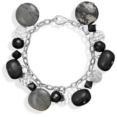 "7.5"" Multibead Silver Plated Fashion Bracelet"