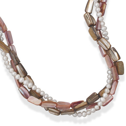 "16""+2"" Multistrand Shell and Cultured Freshwater Pearl Fashion Necklace - DISCONTINUED"