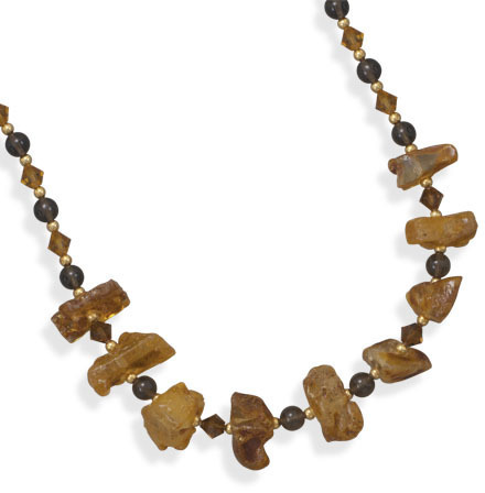 "16""+2"" Reconstituted Amber and Quartz Fashion Necklace"