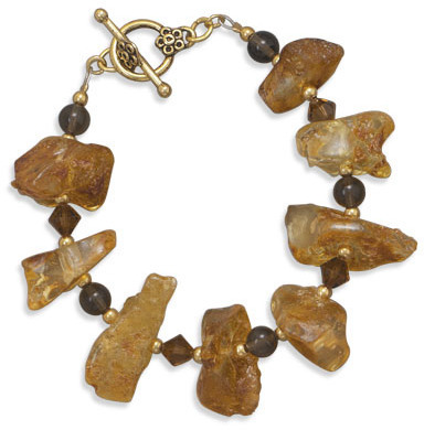 "8"" Reconstituted Amber and Quartz Fashion Bracelet"