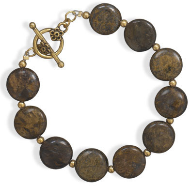 "8"" Bronzite Fashion Toggle Bracelet"