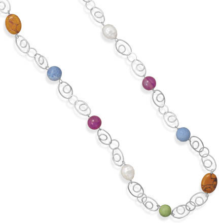 "38"" Multibead and Oval Swirl Link Fashion Necklace - DISCONTINUED"