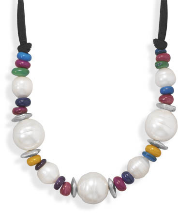 "16""+2"" Multicolor Dyed Shell Fashion Necklace"