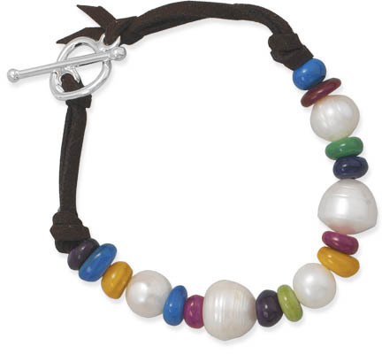 "8"" Multicolor Dyed Shell Fashion Bracelet"
