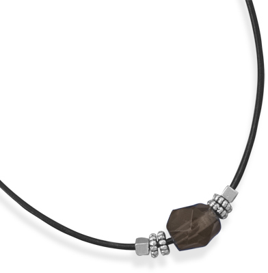 "16""+2"" Leather Fashion Necklace with Smoky Quartz Bead"