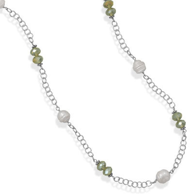 "36"" Cultured Freshwater Pearl and Green Crystal Fashion Necklace"