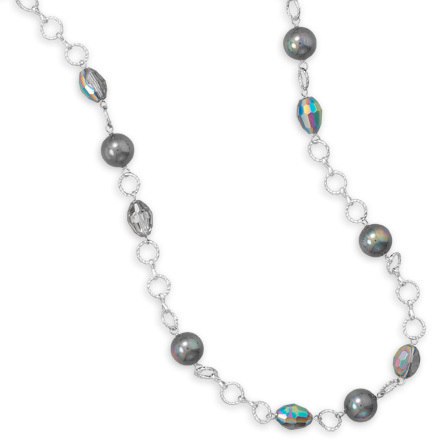 "36"" Shell Pearl and Crystal Fashion Necklace"