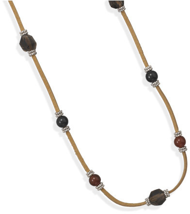 "32"" Suede Fashion Necklace with Smoky Quartz, Carnelian and Black Onyx"