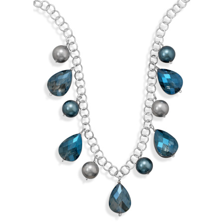 "16""+2"" Glass Pearl and Crystal Silver Tone Fashion Necklace- DISCONTINUED"