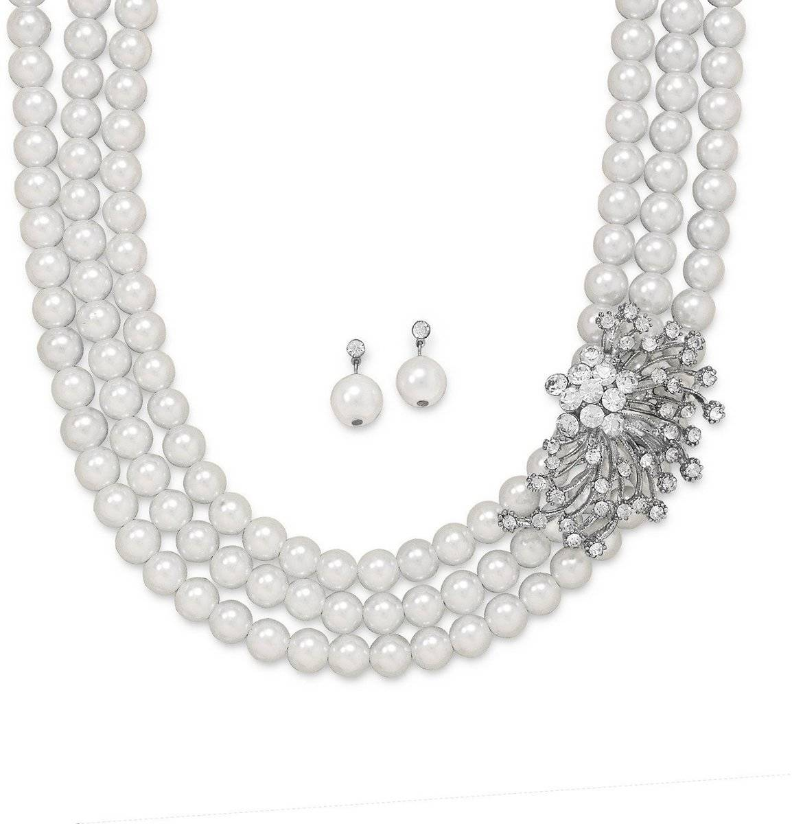 "16.5""+3"" Glass Pearl and Crystal Fashion Necklace and Earring Set"