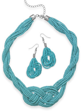 Seed Bead Braided Design Necklace and Earring Set - LIMITED STOCK