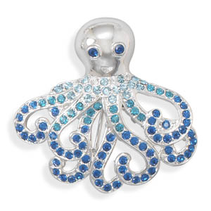 Octopus Fashion Pin with Blue Crystals- DISCONTINUED