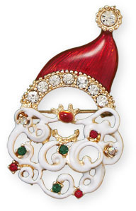 Crystal Santa Face Fashion Pin