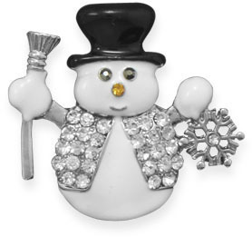 Crystal Snowman Fashion Lapel Pin