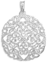 Silver Plated Heart Design Fashion Pendant