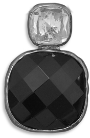 Faceted Black Glass and Clear Glass Fashion Pendant