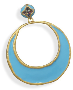 14 Karat Gold Plated Blue Epoxy Fashion Pendant