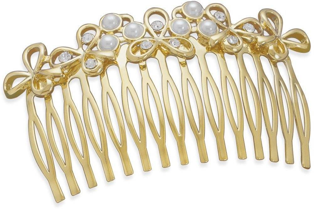 "3"" Multistone 14 Karat Gold Plated Fashion Hair Comb"