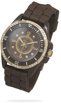 Brown Silicon Fashion Watch with Gold Tone Accents