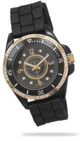 Black Silicon Fashion Watch with Gold Tone Accents