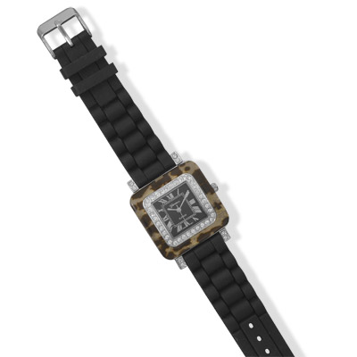 Black Silicon Fashion Watch with Tortoise Shell Accents - DISCONTINUED