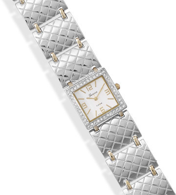 "7.25""-8"" Two Tone Fashion Watch with Crystal Accents"