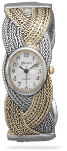 Oxidized Two Tone Fashion Cuff Watch