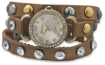 Bronze Leather Fashion Wrap Watch