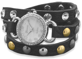 Black Leather Fashion Wrap Watch