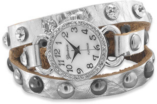 Silver Leather Fashion Wrap Watch - DISCONTINUED