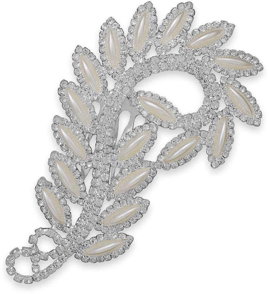 Crystal and Simulated Pearl Fashion Hair Comb