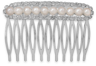Simulated Pearl and Crystal Fashion Hair Comb