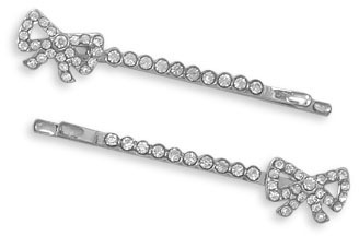 Set of Two Crystal Bow Fashion Hairpins - DISCONTINUED